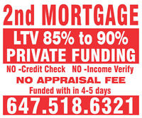 2ND OR 3RD MORTGAGE UPTO 90%LTV,NO APPRAISAL APPROVAL IN 24 HRS