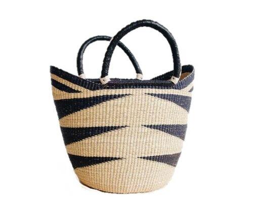Yikene U-Shopper  Ghana Basket   Market Basket - Black & Tan