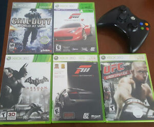 5 XBOX 360 GAMES & WIRELESS CONTROLLERS