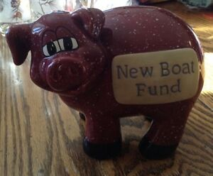 VINTAGE J & D DESIGNS PIGGY BANK. NEW BOAT FUND. SAVINGS. COIN Gatineau Ottawa / Gatineau Area image 1