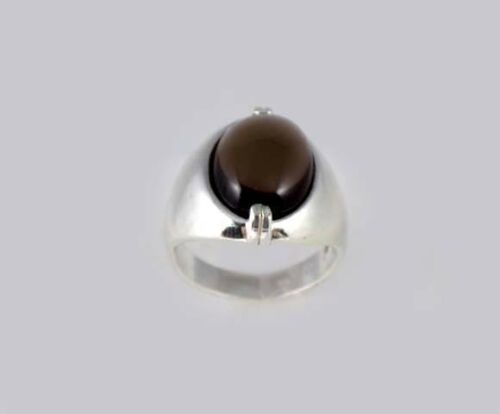19thC Antique 8ct Scotland Cairngorm Smoky Quartz Ancient Rome Intaglio Gem Ring