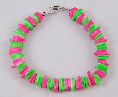 New Bright Neon Pink & Green Colored Puka Shell Bracelet #B1028A - Neon Bracelets