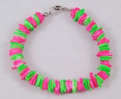 Neon Bracelets (New Bright Neon Pink & Green Colored Puka Shell Bracelet)