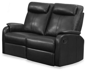 2 SEATS RECLINER COUCH IN BLACK BONDED LEATHER FOR ONLY 499$