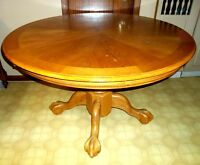 Round Wood Eagle Claw Foot Kitchen Table with Large Leaf