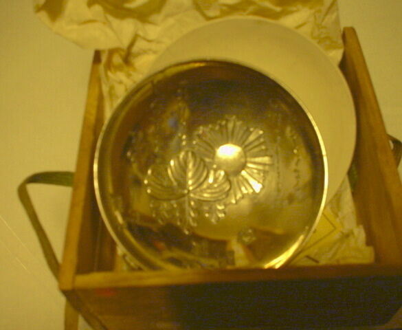 RISING SUN SILVER CUP W/ CLAY DISH - ORIGNAL BOX