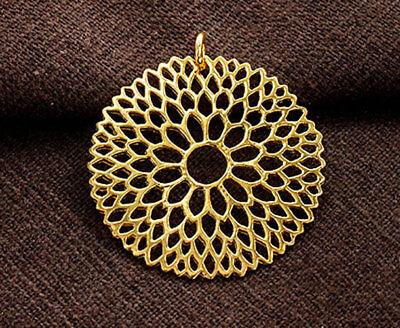 925 Sterling Silver 24k Gold Vermeil Style Filigree Flower Pendant 30mm. 24k Gold Vermeil Flower