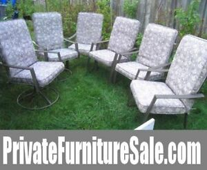 6 Zinc coated (anti-rust) Patio Chairs (4+2 swivel)with Cushions
