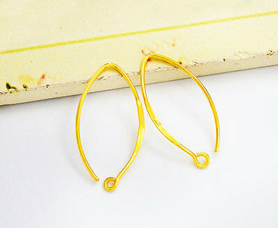 925 Sterling Silver 24k Gold Vermeil Style  2 Pairs of Earwires  10x23mm.#21 24k Gold Vermeil Ear Wires
