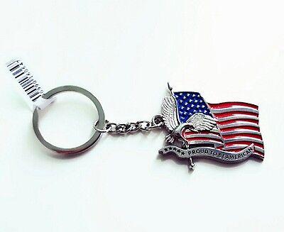 USA American Flag & Eagle United States America Patriotic Keychain Key Ring gift