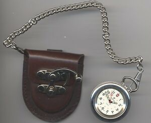 Pocket watch - leather pouch for belt with metal latch and chain