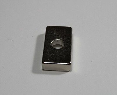 New Neodymium Rare Earth Magnets N50 20mm X 10mm X 4mm W Countersink 4mm Hole