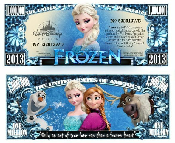 Frozen Million Dollar Bill Fake Play Funny Money Novelty Note with FREE SLEEVE