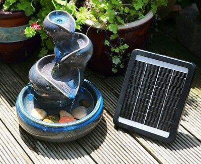 Jar Bowl Water Feature 4 Tiered Cascade Solar Powered Ceramic Design Blue Purple