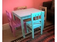 2 x children's tables and 4 x child-size chair