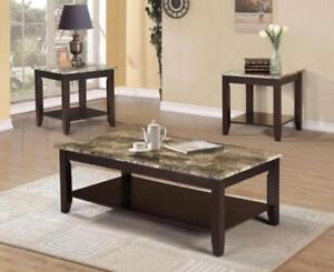 FAUX MARBLE COFFEE TABLE SET SALE (ND 468)