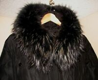 luxury, long; with natural fur, black lady's coat