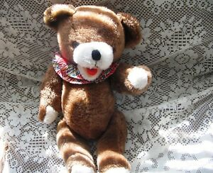 "18.5"" PLUSH BROWN TEDDY BEAR,BEIGE PAWS, PLEAT CIRCLE COLLAR"