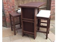 ALEXANDER ROSE GARDEN TABLE AND 4 STOOLS