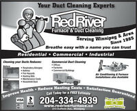 Red River Furnace & Duct Cleaning $97.00 WINNIPEG 204-334-4939