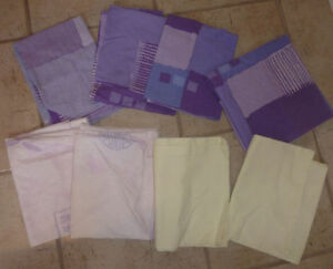 Pillow cases, twin fitted sheet, flat sheet, king bed skirt$2-$5