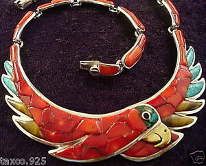 TAXCO-MEXICAN-950-SILVER-RED-CORAL-STONE-PARROT-NECKLACE-MEXICO