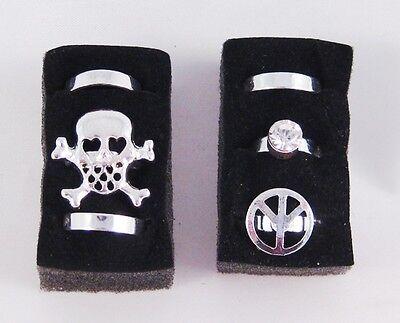 Six New Silver Tone Skull , Peace Sign , Crystal Toe Rings #Z1070