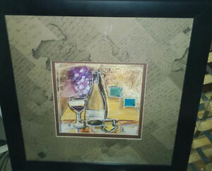 Champagne bottle decorative art print, framed, $12