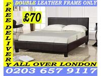NEW DOUBLE BED WITH MATTRESS COLOR OPTION AVAILABLE LEATHER BED