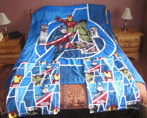 Avengers Comforter Set, Curtains and Peel & Stick Wall Decals