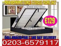 Stunning Faux Leather Storage Bed With Mattress Single/Double Options