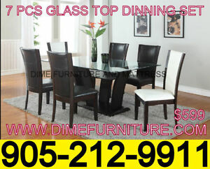 GLASS TOP/WOODEN TOP DINING SETS FROM AS LOW AS $349