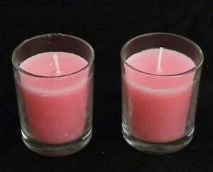 72-Clear-Glass-Wedding-Votive-Tealight-Holder-Soft-Pale-Pastel-Pink-Wax-Candle