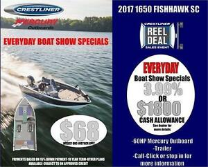 Crestliner 1650 Fish Hawk Side Console W/ 60HP Mercury Outboard