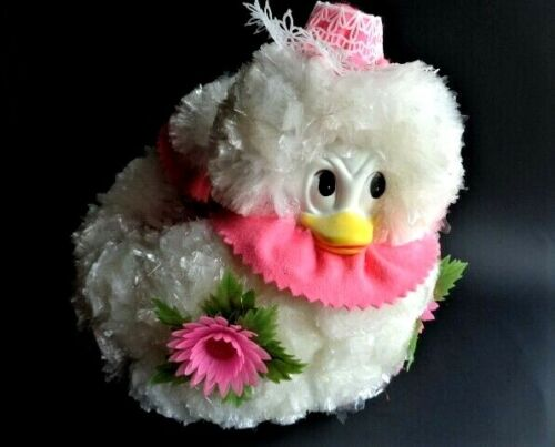 Vintage Plastic Pom Easter Duck Jug Egg Basket