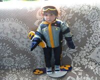 "18"" BOY DOLL,TOTAL SNOWBOARD SUIT, BOARD, SHADES, MITTS, BOOTS"