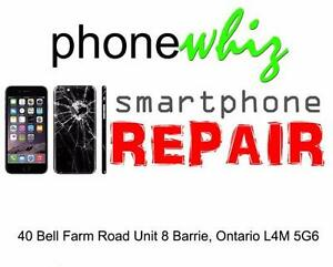 APPLE IPHONE 6 / 6S BROKEN / CRACKED GLASS SCREEN REPAIRS - PHONEWHIZ BARRIE 705-999-0054
