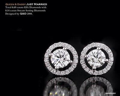 0.30 ct pair GIA diamond 18K(750) white gold exquisite design earrings