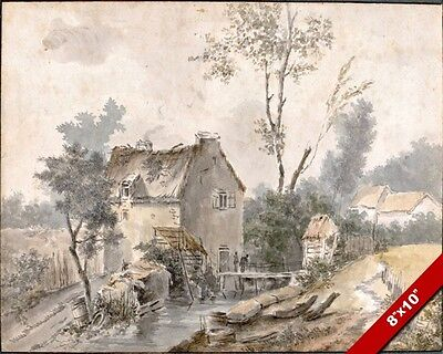 18th Century Farmhouse (FRENCH MILL & FARMHOUSE 18TH CENTURY WATERCOLOR PAINTING ART REAL CANVAS PRINT )