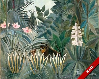 EQUATORIAL JUNGLE BEAST HENRI ROUSSEAU OIL PAINTING ART REAL CANVAS (Henri Rousseau Canvas Painting)