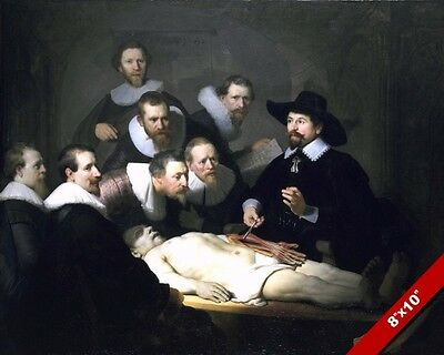 ANATOMY LESSON HUMAN AUTOPSY 1600'S PAINTING REMBRANDT ART REAL CANVAS PRINT