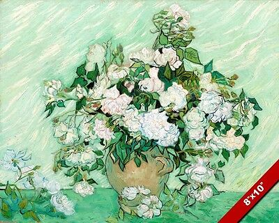 GREEN WHITE ROSES FLOWERS IN POT VINCENT VAN GOGH PAINTING ART REAL CANVAS PRINT