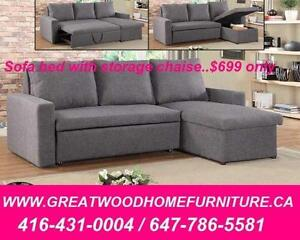 BRAND NEW SECTIONAL SOFA BED WITH STORAGE..$699 ONLY