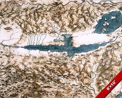 LEONARDO DA VINCI SKETCH PAINTING MAP OF TUSCANY ITALY REAL CANVASART PRINT