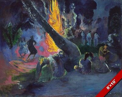 UPA! THE FIRE DANCE BY PAUL GAUGUIN PAINTING IMPRESSIONIST ART REAL CANVAS PRINT
