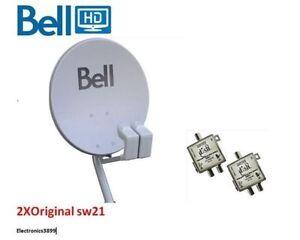 Bell Satellite Hi-Def Dish 2 lnb's 2 sw21's NEW