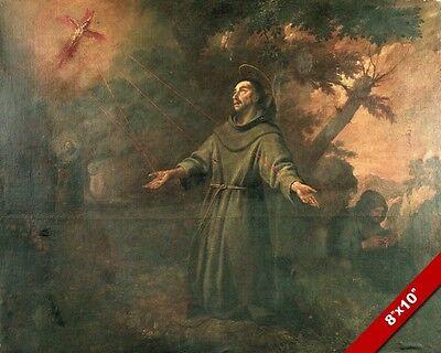 ST FRANCIS ASSISI STIGMATA PAINTING CATHOLIC SAINT HISTORY ART REAL CANVAS PRINT