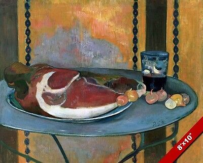 HAM & SHALLOTS PAINTING FOOD WINE STILL LIFE PAUL GAUGUIN ART REAL CANVAS PRINT