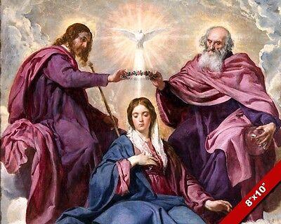CORONATION OF THE VIRGIN MARY PAINTING ROMAN CATHOLIC ART REAL CANVAS PRINT