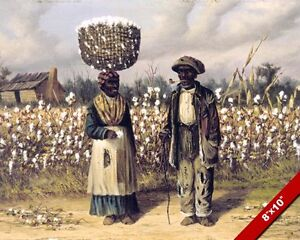 BLACK AFRICAN AMERICAN COTTON PICKERS SOUTH PAINTING ART REAL CANVAS PRINT